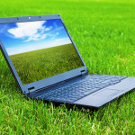 Laptop on grass